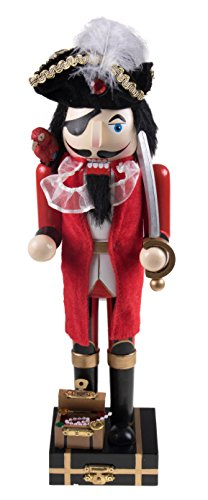 Wooden Pirate Captain Nutcracker with Parrot and Sword – 14″ Tall