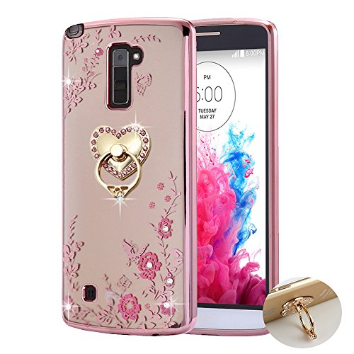 LG Stylo 2 Case ,LG Stylo 2 plus Case Case , BestAlice Slim Soft Gel Clear Bling Case Rose Gold Metal Plating Bumper Cover , Heart Ring Stand
