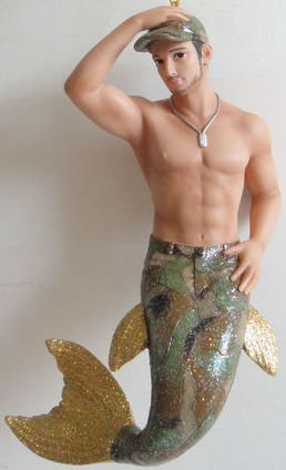 "December Diamonds Camo Shirtless Military Merman Ornament with Beard,Mustache,Big Brown Eyes,6 pack Abs,Awesome Pecs & Biceps…..7 inches long, Handpainted & Gift Boxed Limited Edition.Camo Tail & Camo Cap.Camo is a Hot Man with ""Dog Tag Chain"" & He wants to come home to YOU!!!!!"