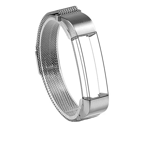 Wearlizer Milanese Loop Bands Replacement Metal Stainless Steel Strap Sport Wristband for Fitbit Alta – Silver