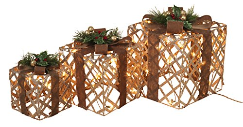 Set of 3 Large Lighted Glittered Cutout Holiday Gift Boxes – Indoor/Outdoor Christmas Decoration