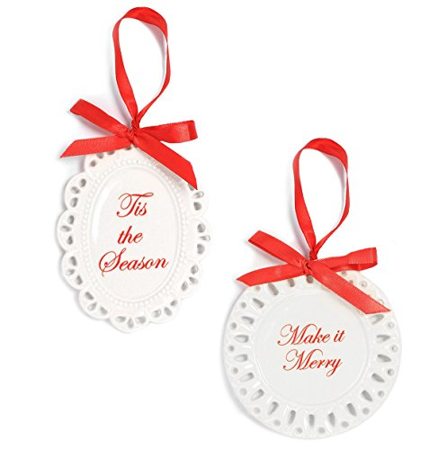 Holiday Lane Scalloped White Porcelain Plate Christmas Ornaments (Set of 2)