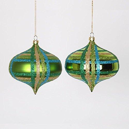4ct Lime Green w/ Blue, Green & Gold Glitter Plaid Shatterproof Christmas Onion Ornaments 4 (100mm) by Vickerman