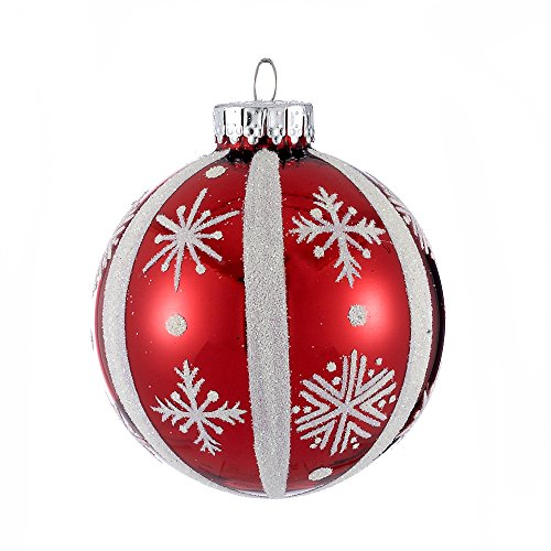 Kurt Adler 65mm Red and White Snowflake Design Glass Ball Ornaments, 4-Piece Box Set