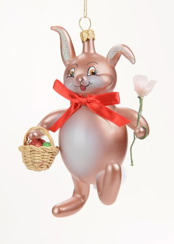 De Carlini Brown Rabbit with Flower and Basket Italian Glass Christmas Ornament