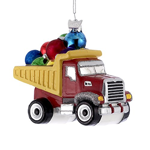 Kurt Adler 3.5″ Noble Gems Glass Dump Truck Ornament
