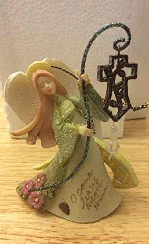"Enesco Foundations ""O Come Let Us Adore Him"" Angel with Cross Hanging Ornament"
