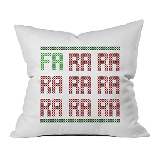 Oh, Susannah FA RA RA Christmas Throw Pillow Cover (1 18 x 18 Inch, Green, Red)