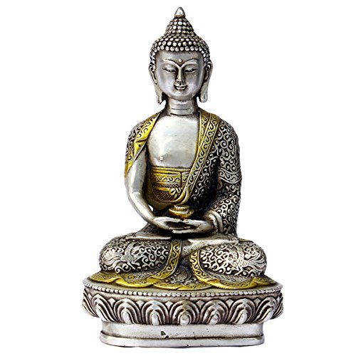 Fengshui Silver Shakyamuni Buddha Statue Sitting on Lotus Flower Sculpture Home Indoor Outdoor Decorative Ornament
