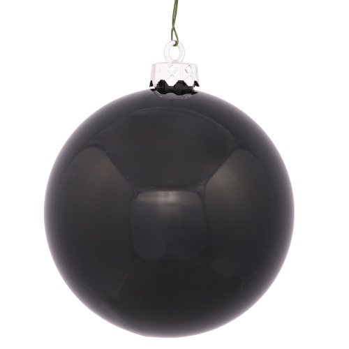 Vickerman Shiny Finish Seamless Shatterproof Christmas Ball Ornament, UV Resistant with Drilled Cap, 12 per Bag, 3″, Black