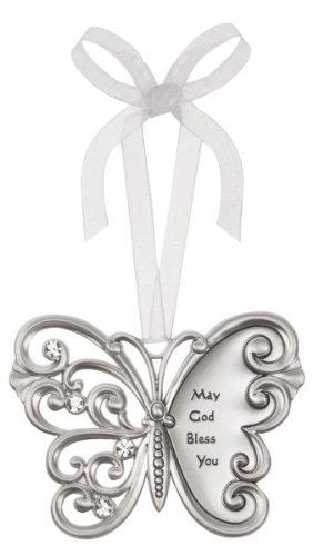May God Bless You Butterfly Silver & Crystal Filigree Ornament