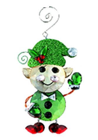 Green Faux Crystal Elf Christmas Ornament – By Ganz