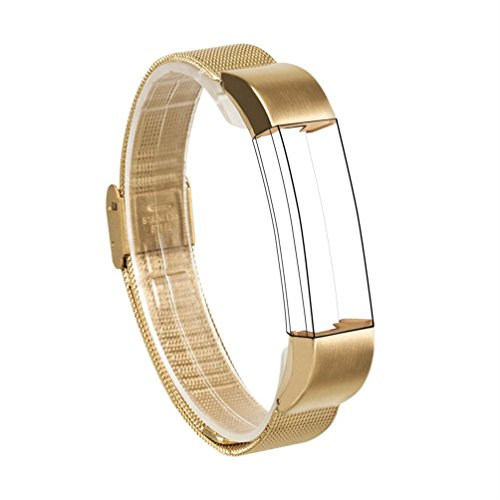 For Fitbit Alta / Fitbit Alta HR Bands, Wearlizer Mesh Smart Watch Replacement Strap Wristband for Fitbit Alta – Gold