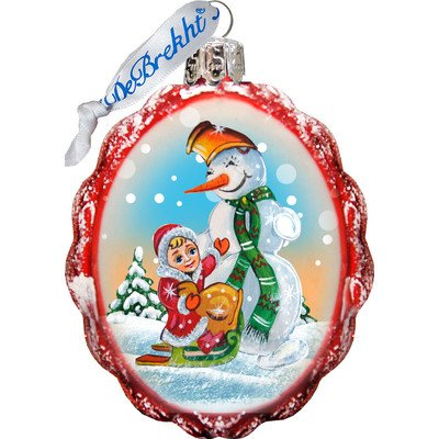 G. Debrekht Sleight Ride Snowman Glass Ornament Figurine