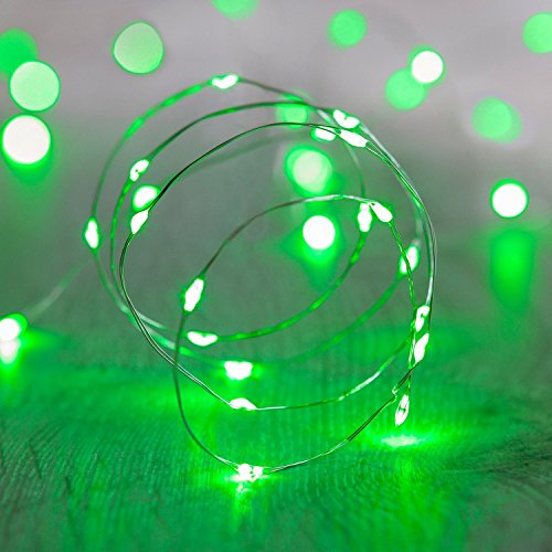 String Lights,Bienna [Waterproof] [Battery Operated] 20 LED 6.56ft/2M Copper Wire Multi Color Star Fairy Lighting for Bedroom Indoor Outdoors Patio Home Garden Wedding Christmas Party-Green