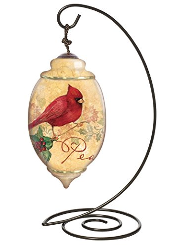 """Ne'Qwa Petite Trillion-Shaped Glass Ornament With Classic Hanging Stand, """"Gifts of Peace"""" Artist Susan Winget, #7131114"""