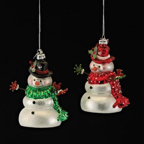Kurt Adler 4″ Noble Gems Glass Cute Snowman W/bird Ornament