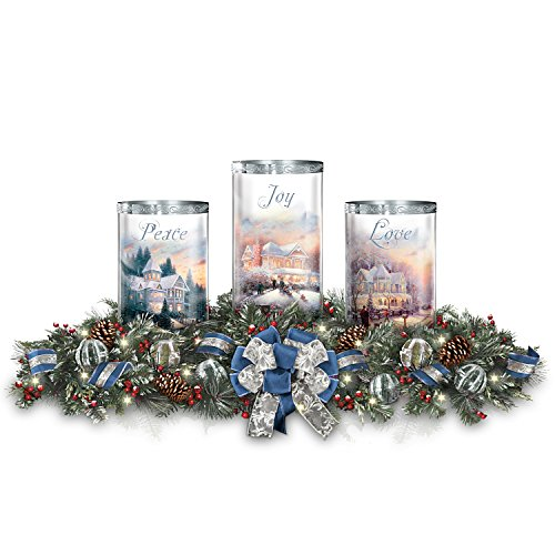 Thomas Kinkade Holiday Art Centerpiece with Free Flameless Candles Lights Up by The Bradford Exchange