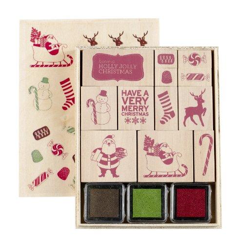 Martha Stewart Crafts Peppermint Winter Wooden Decorative Stamp Set
