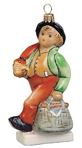 M.I. Hummel Merry Wanderer Boy with Umbrella Polish Glass Christmas Ornament