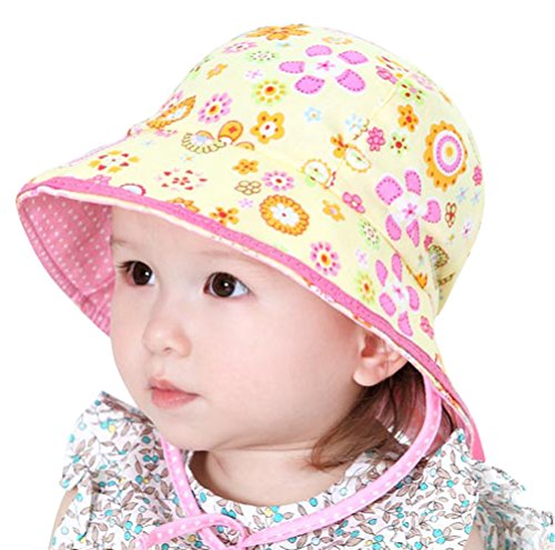Little Kids Toddlers Foldable Printed Blossom Sun Hat Bonnet with Chin Strap Yellow
