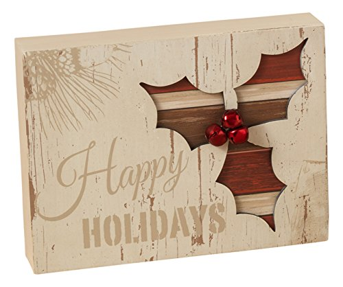 Rustic White Wood Holiday Tabletop Standing Signs Christmas Decorations (Holly)