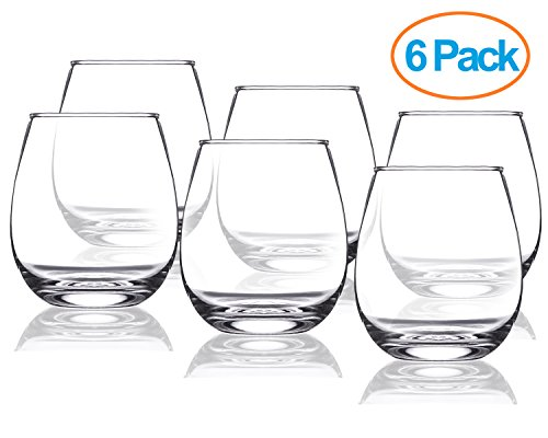 Chef's Star 15 Ounce Stemless Wine Glasses Set – Classic Durable Wine Cups Ideal for All Occasions – Packaged in a Gift box – Top Gift Idea! – Shatter-Resistant Glass (6 pack