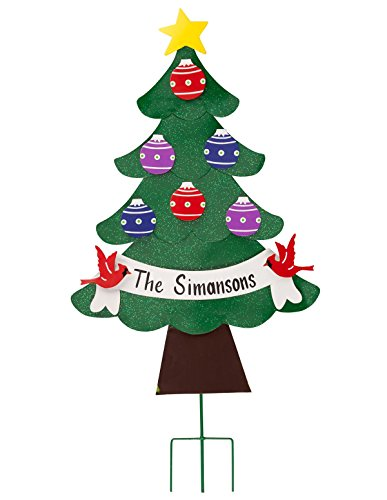 Personalized Metal Holiday Tree Lawn Stake by Maple Lane CreationsTM
