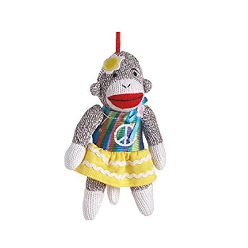 Sock Monkey Teen with Peace Sign Ornament