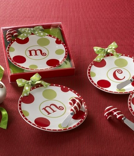 MUD PIE Monogram Holiday Ceramic Cheese Tray, Spreader (Letters May Vary)