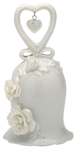 Appletree Design The Perfect Wedding White Rose Bell Heart, 5-Inch Tall, Includes Clapper