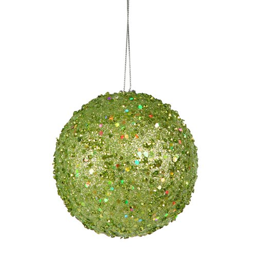 Vickerman Fancy Green Apple Holographic Glitter Drenched Christmas Ball Ornament, 3″