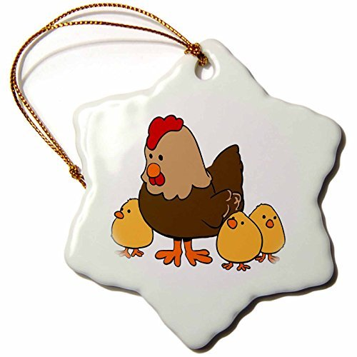 Ornaments to Paint Image of Mama Chicken with 3 Baby Chicks – Snowflake Ornament, Porcelain, 3-Inch