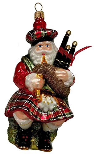Scottish Santa in Kilt with Bagpipes Polish Glass Christmas Ornament Scotland
