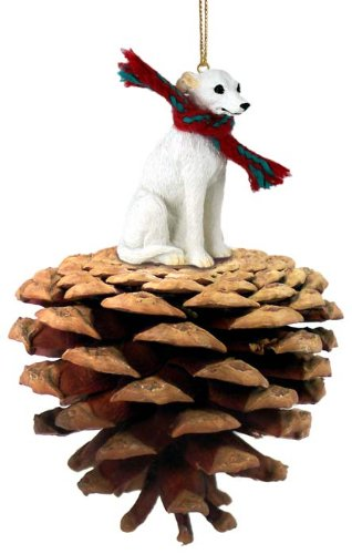 Conversation Concepts Whippet White Pinecone Pet Ornament