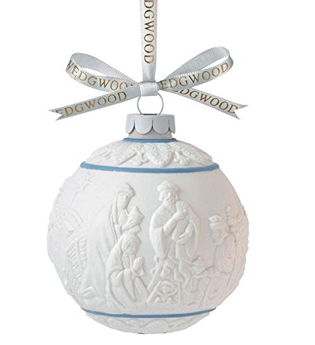 Wedgwood Three Wise Men Nativity Ball Ornament White with Blue Accents New In Box