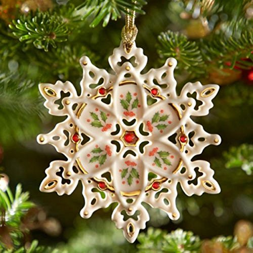 Lenox Christmas Holiday 40th Anniversary Gemmed Snowflake Ornament Holly