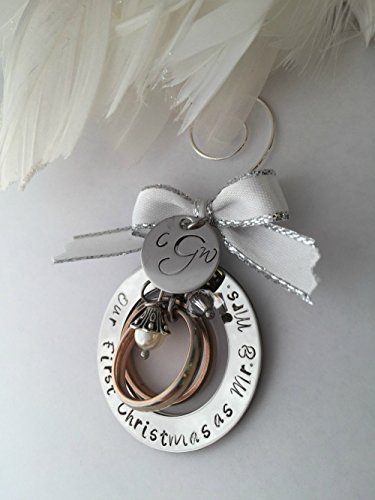 Gorgeous Wedding Christmas Holiday Personalized Hand Stamped Tree Ornament Perfect for Newlyweds Our First Christmas as Mr. & Mrs. Mr. & Mr. Mrs. & Mrs.