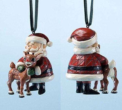 Jim Shore Rudolph Traditions Santa Hugging Rudolph Holiday Ornament