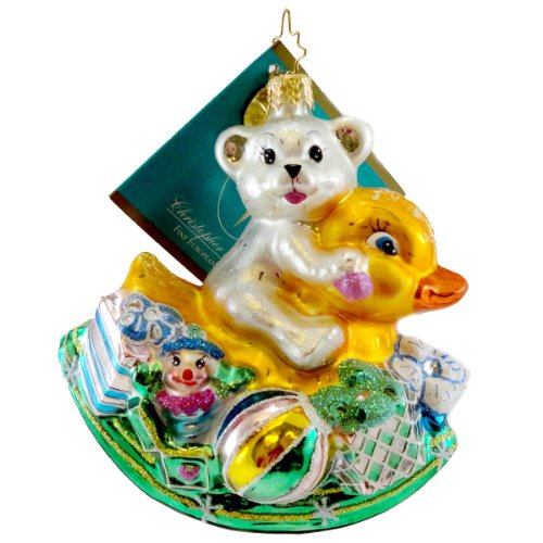 Christopher Radko ROCKIN ARRIVAL Glass Ornament Easter Spring Bear
