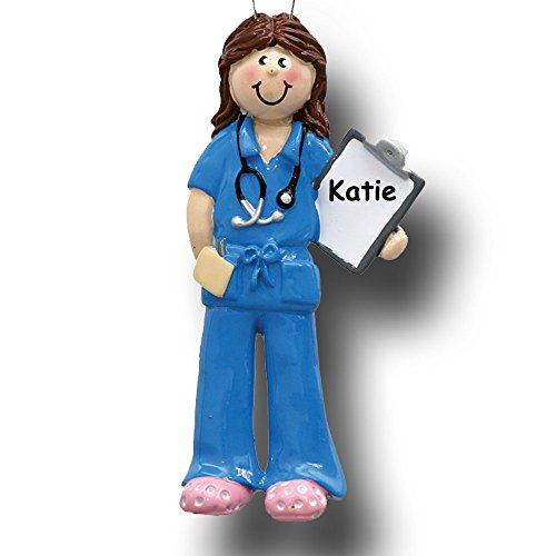 Personalized Female Physician Nurse in Blue Scrubs Christmas Ornament with Name
