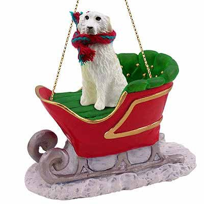 Great Pyrenees Sleigh Ride Christmas Ornament – DELIGHTFUL! by Conversation Concepts
