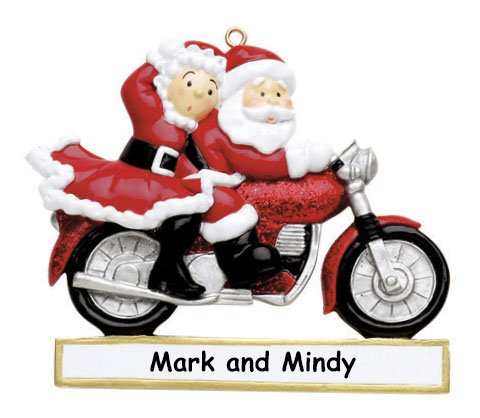 Personalized Santa Claus and Mrs Claus on Motorcycle Christmas Ornament with Name – 3 Inches