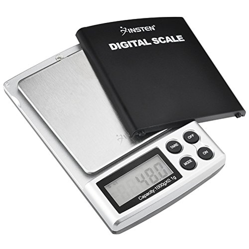 Insten Portable Digital Scale for Kitchen Jewelry Refined Accuracy 0.1g / 0.005oz to 1000g / 35.3 oz with Backlit Display, Silver