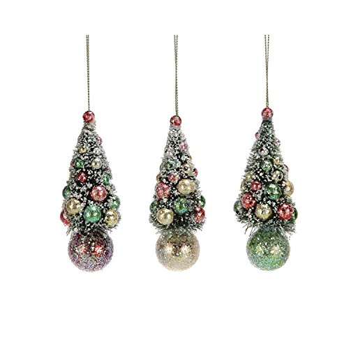 Creative Co-op Sisal Christmas Tree Ornament – Set of 3