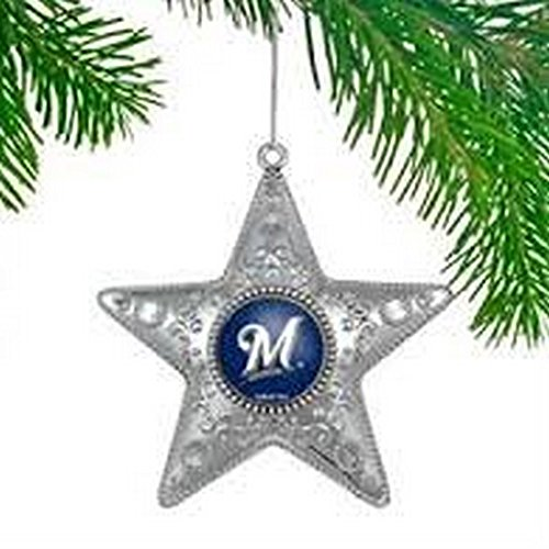 MLB Licensed Milwaukee Brewers Silver Star Ornament