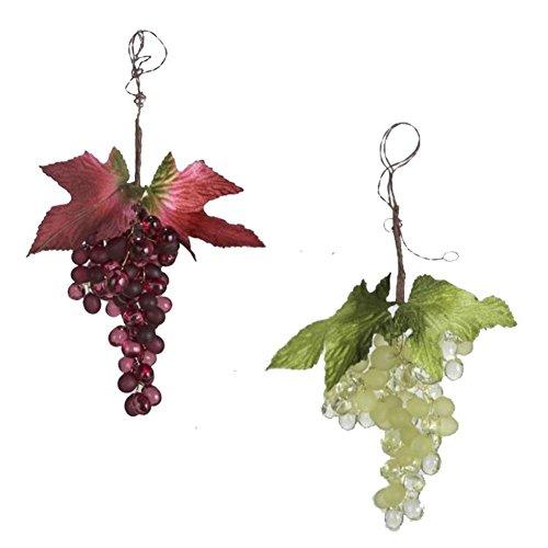 Kurt Adler Green & Red Wine Grape Bunch Ornaments, Set of 2