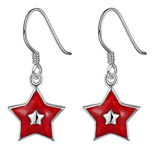 FENDINA Christmas Jewelry Sets Star Dangle Earrings Sets Pendant Necklace Women Girls Red Wreath Santa Claus Stockings White Snowman Missing Hat Snowflake Jingle Bells