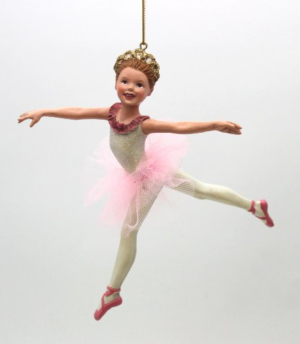 5.5-inch Kurt S. Adler Resin Pink Ballerina Ornament sold as individual piece (D0236_jump)