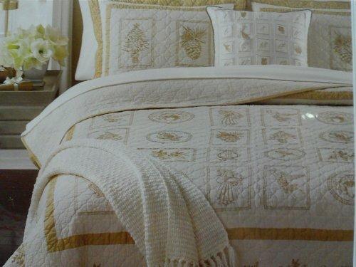 Martha Stewart Golden Ornaments Full/queen Cotton Quilt